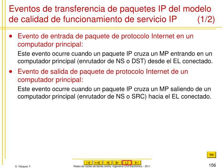 Eventos de transferencia de paquetes IP del modelo de calidad de funcionamiento de servicio IP (1/2)