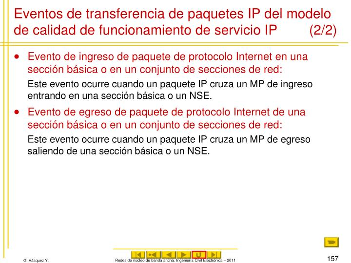 Eventos de transferencia de paquetes IP del modelo de calidad de funcionamiento de servicio IP (2/2)