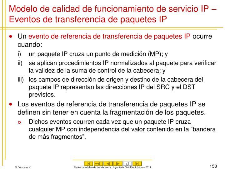 Modelo de calidad de funcionamiento de servicio IP – Eventos de transferencia de paquetes IP