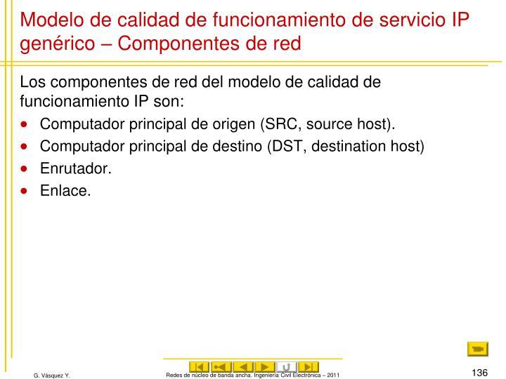 Modelo de calidad de funcionamiento de servicio IP genérico – Componentes de red