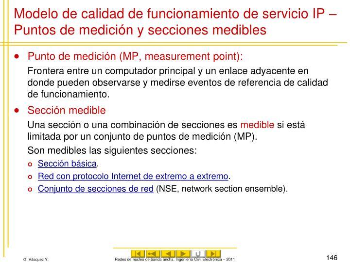 Modelo de calidad de funcionamiento de servicio IP – Puntos de medición y secciones medibles