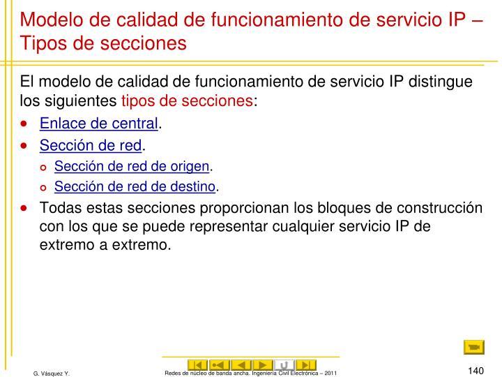 Modelo de calidad de funcionamiento de servicio IP – Tipos de secciones