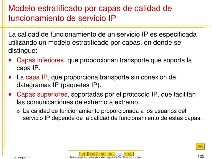 Modelo estratificado por capas de calidad de funcionamiento de servicio IP