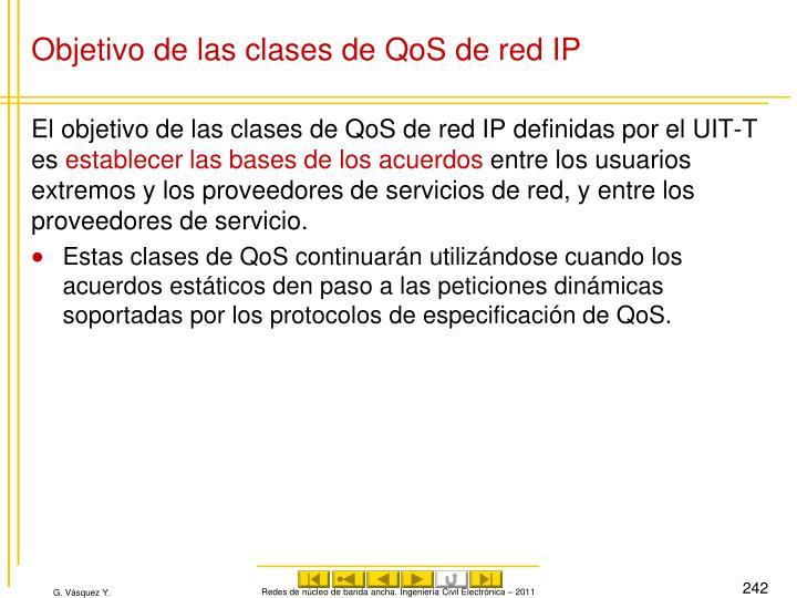 Objetivo de las clases de QoS de red IP