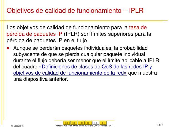Objetivos de calidad de funcionamiento – IPLR