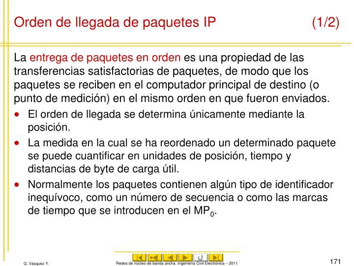 Orden de llegada de paquetes IP (1/2)