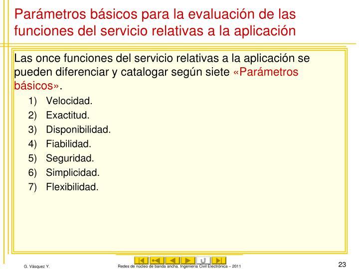 Parámetros básicos para la evaluación de las funciones del servicio relativas a la aplicación