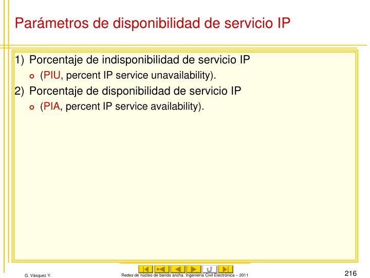 Parámetros de disponibilidad de servicio IP