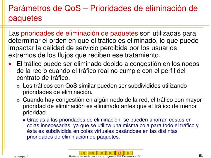 Parámetros de QoS – Prioridades de eliminación de paquetes