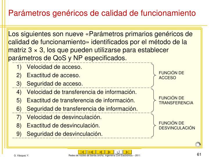 Parámetros genéricos de calidad de funcionamiento