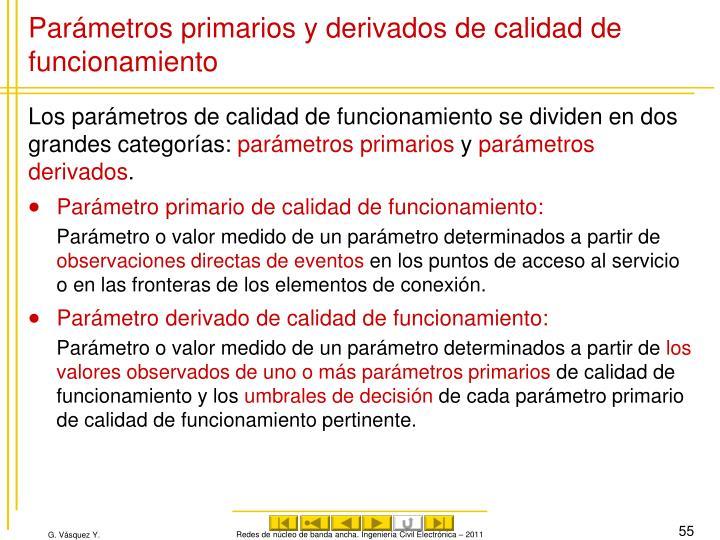 Parámetros primarios y derivados de calidad de funcionamiento