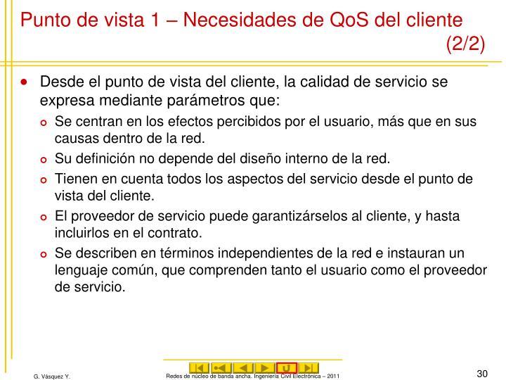 Punto de vista 1 – Necesidades de QoS del cliente (2/2)