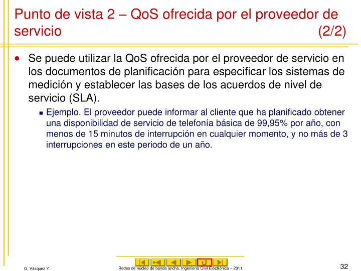 Punto de vista 2 – QoS ofrecida por el proveedor de servicio (2/2)