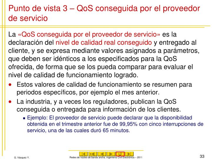 Punto de vista 3 – QoS conseguida por el proveedor de servicio