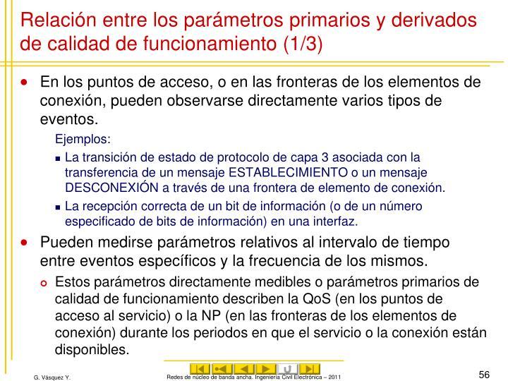 Relación entre los parámetros primarios y derivados de calidad de funcionamiento (1/3)