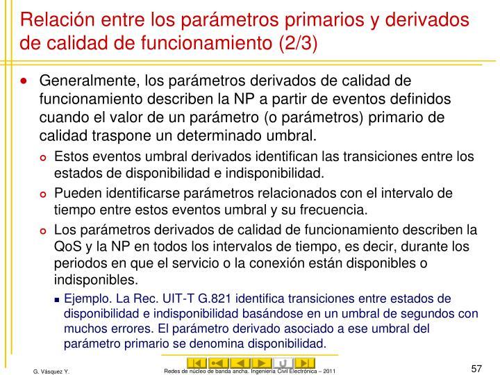 Relación entre los parámetros primarios y derivados de calidad de funcionamiento (2/3)