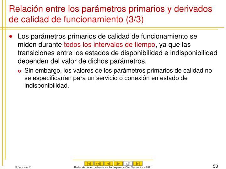 Relación entre los parámetros primarios y derivados de calidad de funcionamiento (3/3)