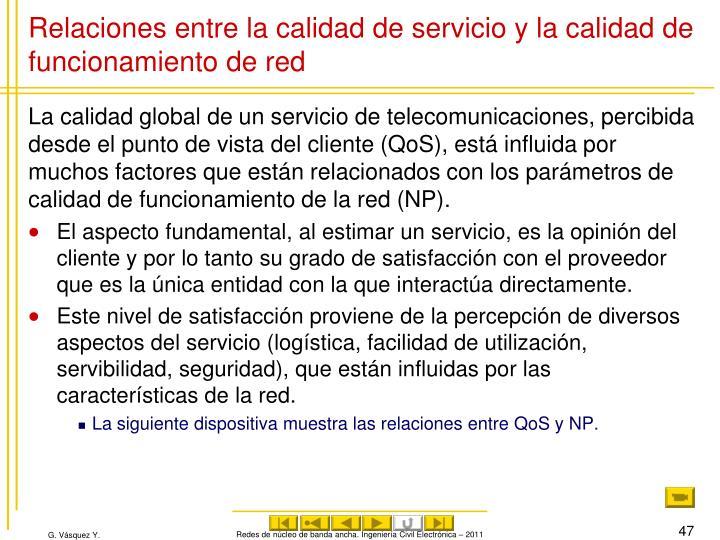 Relaciones entre la calidad de servicio y la calidad de funcionamiento de red