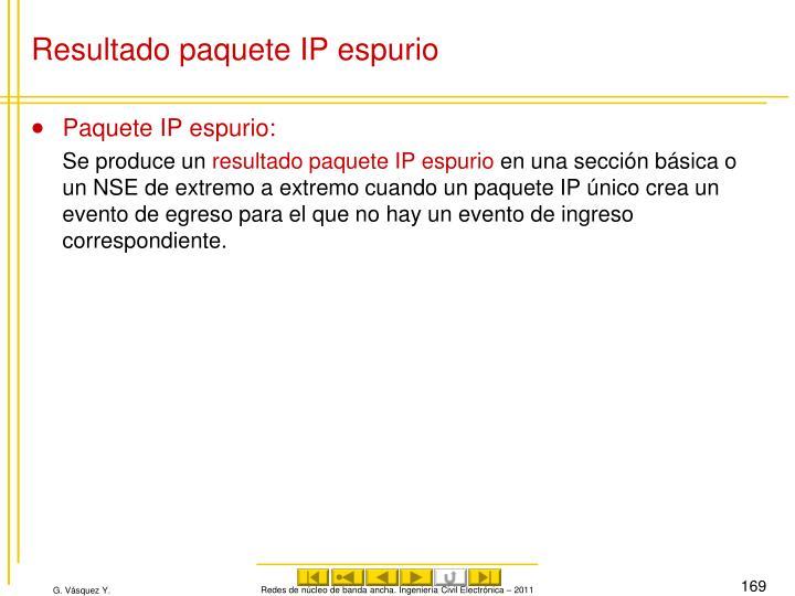 Resultado paquete IP espurio