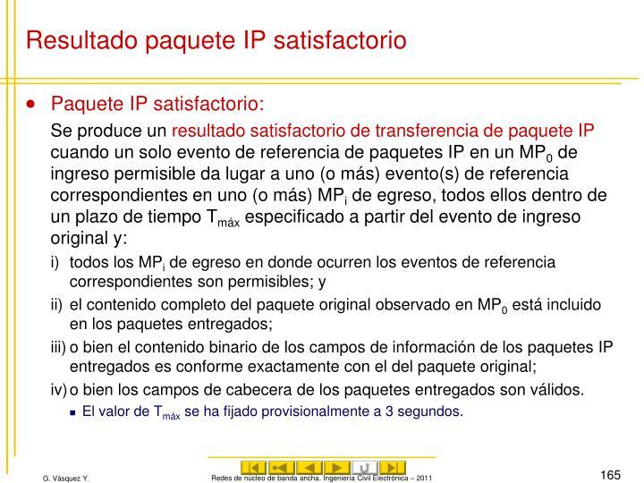 Resultado paquete IP satisfactorio