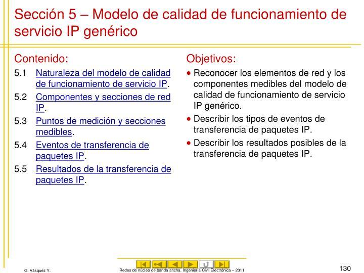 Sección 5 – Modelo de calidad de funcionamiento de servicio IP genérico