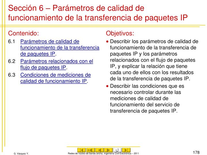 Sección 6 – Parámetros de calidad de funcionamiento de la transferencia de paquetes IP