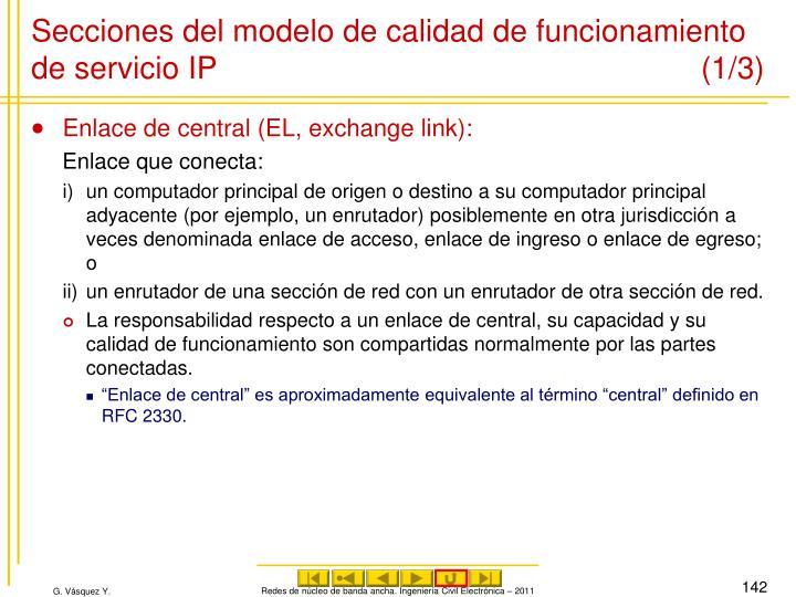 Secciones del modelo de calidad de funcionamiento de servicio IP (1/3)