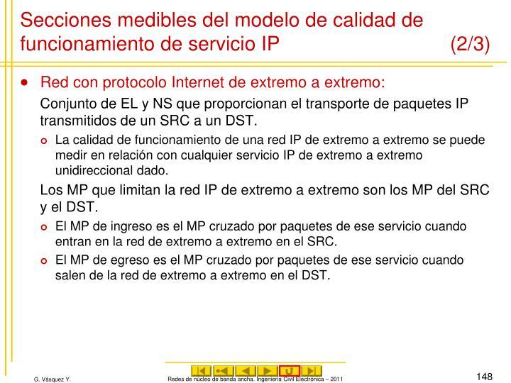 Secciones medibles del modelo de calidad de funcionamiento de servicio IP (2/3)