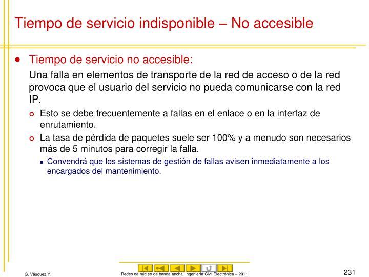 Tiempo de servicio indisponible – No accesible