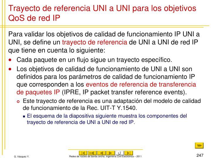 Trayecto de referencia UNI a UNI para los objetivos QoS de red IP