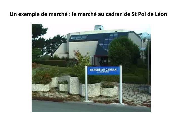 Un exemple de marché : le marché au cadran de St Pol de Léon