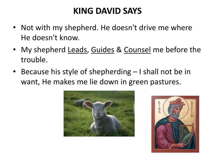 KING DAVID SAYS
