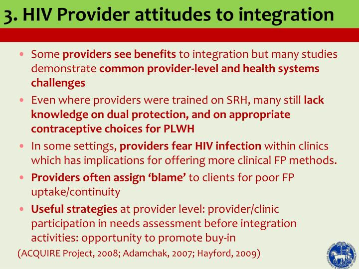 3. HIV Provider attitudes to integration