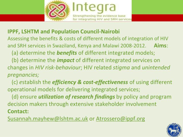 IPPF, LSHTM and Population Council-Nairobi