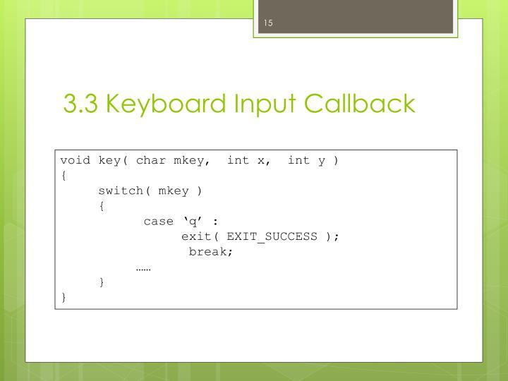 3.3 Keyboard Input Callback
