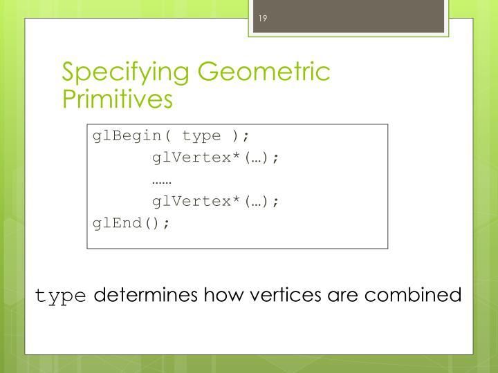 Specifying Geometric Primitives