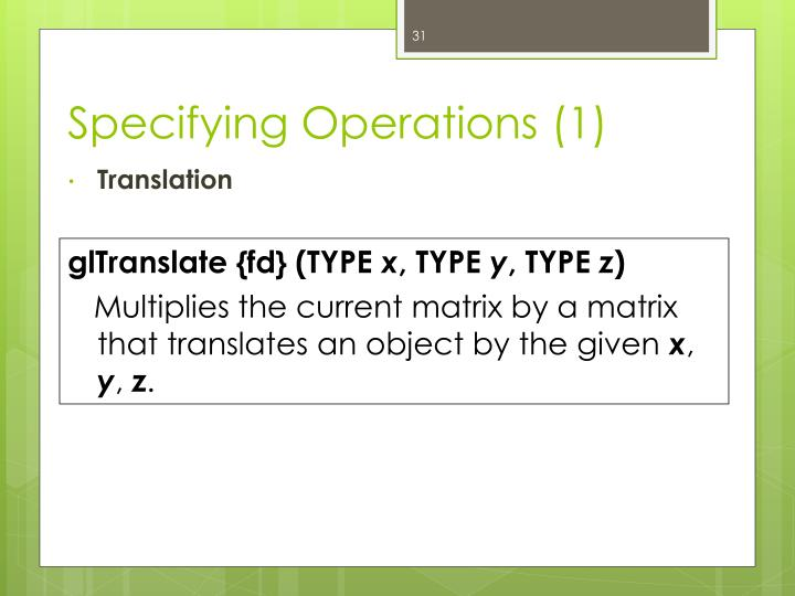 Specifying Operations (1)