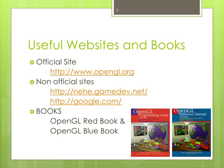 Useful websites and books