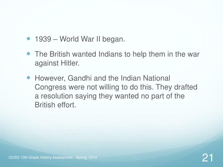 1939 – World War II began.