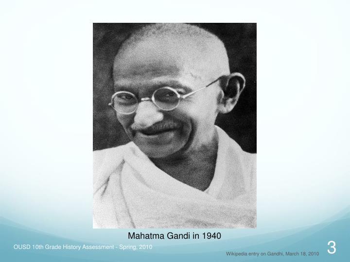 Mahatma Gandi in 1940
