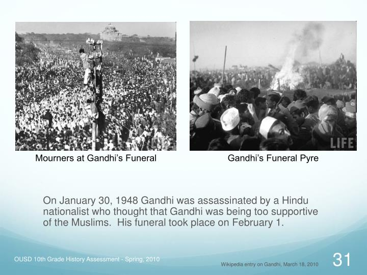 Mourners at Gandhi's Funeral