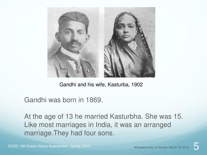 Gandhi and his wife, Kasturba, 1902