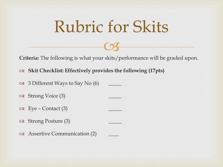Rubric for Skits