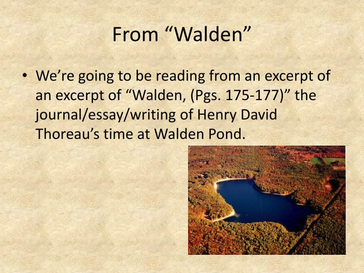 """From """"Walden"""""""