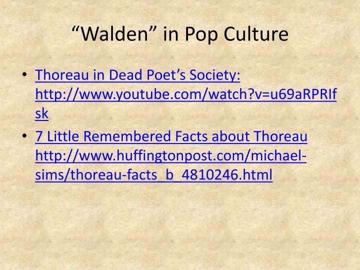"""""""Walden"""" in Pop Culture"""