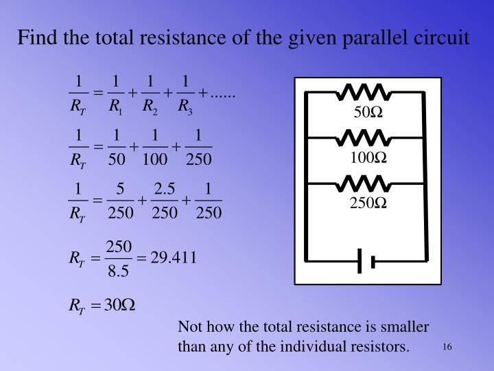 Find the total resistance of the given parallel circuit
