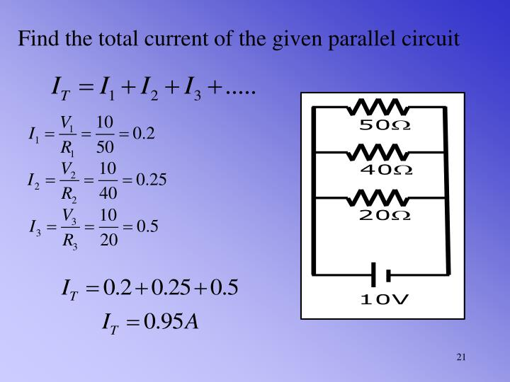 Find the total current of the given parallel circuit