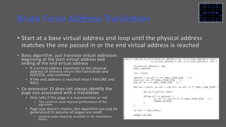 Brute Force Address Translation