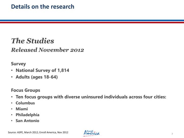 Details on the research