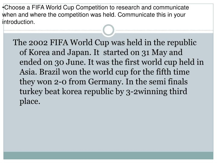 Choose a FIFA World Cup Competition to research and communicate when and where the competition was held. Communicate this in your introduction.